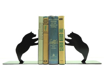 Closeout Sale - Bear Metal Art Bookends - Free USA Shipping
