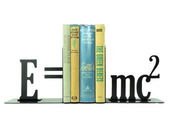 E=mc2 Theory of Relativity Metal Art Bookends - Free USA Shipping