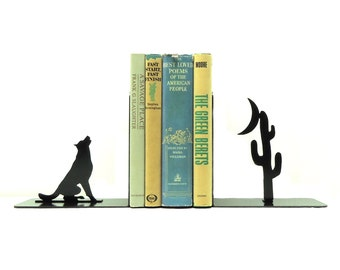 Howl At The Moon Metal Art Bookends - Free USA Shipping