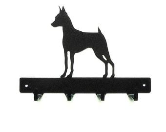 Miniature Pinscher Metal Art Dog Leash or Key Rack -Free USA Shipping