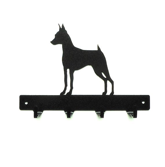 Miniature Pinscher Metal Art Dog Leash or Key Rack -Free USA Shipping