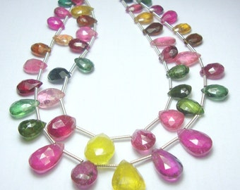 Nigerian Tourmaline Faceted Pears Two Strands
