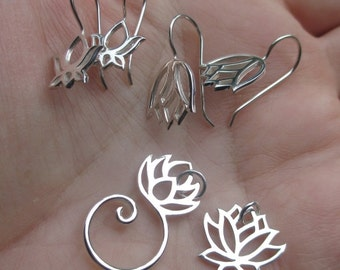 Sterling Silver Lotus Pendant/Charm Holder,Lotus earwires or Lotus charm -You choose which one