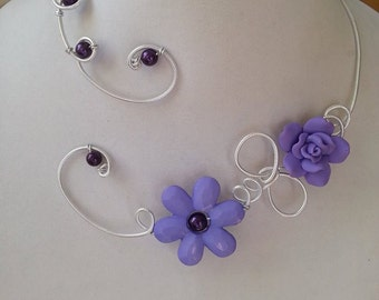 Open collar necklace, wire jewelry, Lilac jewelry - Wedding jewelry set- Lilac wedding jewelry, Wire wrapped, LesBijouxLibellule,