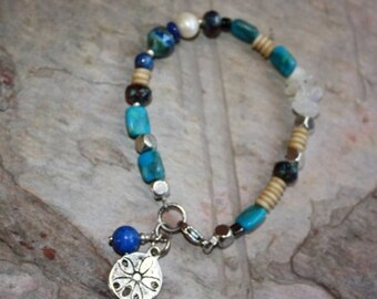 Sand Dollar Charm Bracelet, Stone Bracelet, Multi-Gemstone Bracelet in Blues