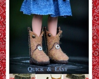 Cowboy Boots Pattern PDF Tutorial for Your Bratz Moxie Dolls Feet