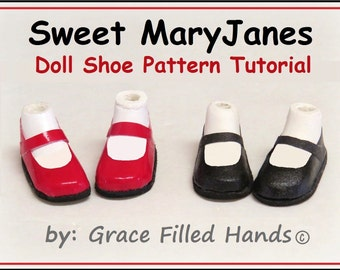 Sweet MaryJane No Sew Doll Shoes Pattern PDF Pictorial Tutorial Bratz Moxie Blythe and Other Fashion Dolls by Grace Filled Hands