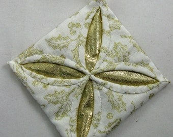 White and  Gold Cathedral Window Quilted Christmas Ornament 112