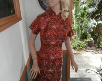 Womens Dress~ Red Satin Oriental Print ~ Sheath style  Woman's dress~  Vintage Hand made Dress