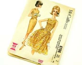 Vintage 1960s Womens Size 16 Dress with Slim or Full Skirt McCalls Sewing Pattern 6766 / bust 36 waist 28 / Complete