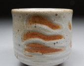 Larger Handmade Stoneware Yunomi Tea Cup glazed with MY White Shino and Finger Wiping