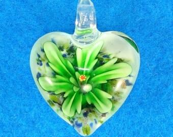 Heart Pendant Glass Flower Charm 40mm x 30mm GREEN Flower Puffy Heart Necklace Jewelry Supplies Heart Shaped Dangle Christmas Ornament