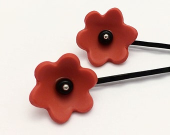 Poppy Bobby Pins, Simple Polymer Clay Flower Hair Accessories, Set of 2