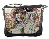 Alice In Wonderland At Mad Hatter's Tea Party White Rabbit, Queen of Hearts Messenger Bag
