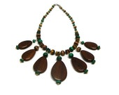 OOAK Vintage Recycled Green and Brown Wood Bead Pendnat Necklace Handmade Beaded Necklaces Wooden Pendant Necklace Wooden Necklace