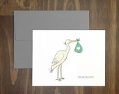 welcome baby card / special delivery / stork bringing baby / congratulations / baby shower / new baby arrival / new parents / blank inside