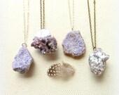 Mineral specimen necklace lepidolite necklace lavender raw purple lepidolite lilac