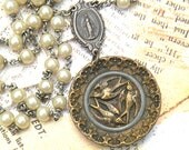 rosary assemblage necklace bird picture button pendant