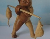 Folk Art Wooden Cat with Mice in Pole.