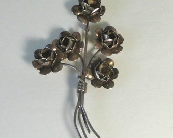 CORO Sterling Craft Large Flower Bouquet Brooch.