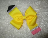 Pencil Hair Bow, Back To School Hairbow, Grade School Bow, Yellow Pencil Hairbow, Elementary hairbow