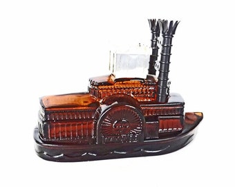 Vintage Avon Side Wheeler Tai Winds After Shave, Ship Decor, Ship Figurine, Boat Decor, Nautical Decor, Avon Perfume Bottle, Vintage Avon