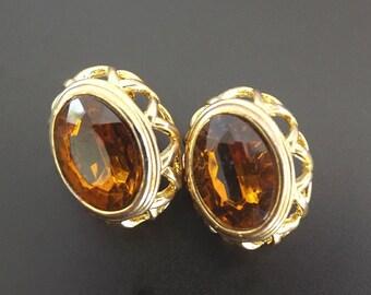 Vintage Clip On Earrings, Amber Rhinestone Earrings, Costume Jewelry, Vintage Jewelry, Jewelry Accessories, Dressy Casual Earrings