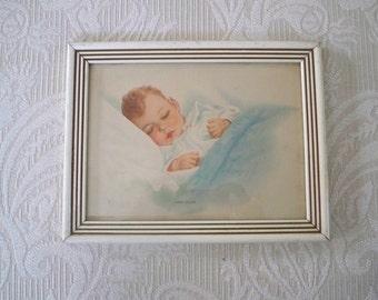 """Vintage Framed Baby Print """"Sweet Lullaby"""" WM. H. Kopoed 1936 Baby Room Decor"""