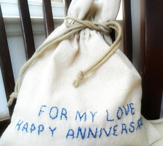 Cotton Wedding Anniversary Gifts For Him: Cotton Anniversary Gift For Him Her / Message In A Bag