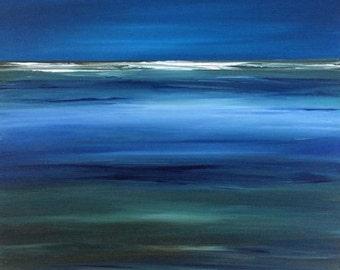 Modern Ocean Painting Contemporary Abstract Sea Ocean Beach Blue Water Original Seascape Beach Art