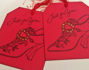 Red Shoe Tags Just for You Fashion Vintage Inspired Set of 6