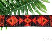 Bracelet Beaded Loom Ethnic Tribal Native Inspired Weayaya Design Handmade Jewelry Black Orange Red Amber Delicas PinkCloudsAndAngels