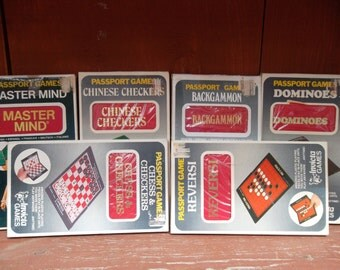 1973 Lot of 6 Passport Games: Chess & Checkers/Chinese Checkers/Dominoes/Backgammon/Reversi/Master Mind by Invicta Games