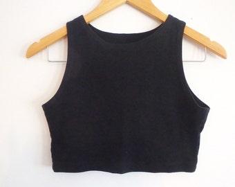 Crop Top Vintage 1980s Black Sleeveless