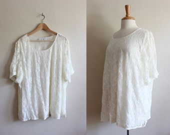 Vintage Ivory Lace Oversize T-Shirt