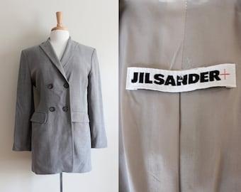Vintage 1990s Jil Sander Grey Wool Blend Jacket