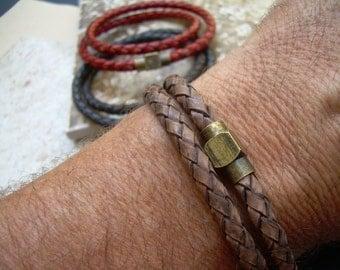 Mens Double Wrap Braided Leather Bracelet, Antique Brass Magnetic Clasp,Leather Bracelet, Mens Bracelet,Mens Jewelry,Braided Bracelet,
