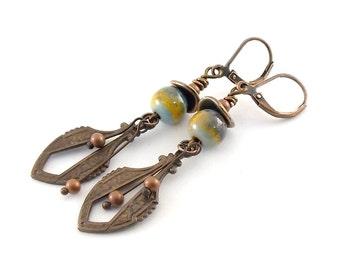 Antique Brass Boho Earrings - Enamel Copper Earrings - Gypsy Earrings - Vintaj Brass Earrings - Long Earrings - Industrial Earrings - AE007