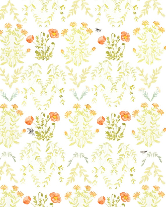 items similar to floral wallpaper poster on etsy