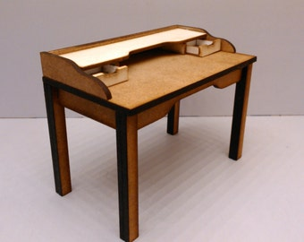 Modern midcentury desk table with two drawers, 1/12 miniature for dollhouses