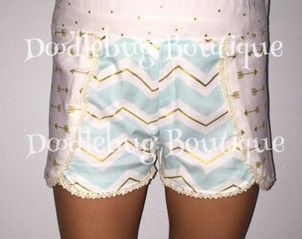 Mint/gold chevron Coachella shorts