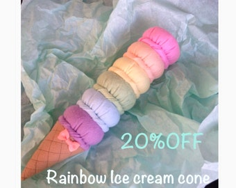 ETSY Pretend Felt food Play food Rainbow Ice Cream Cone