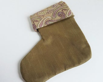 Christmas Stocking Purple Paisley and a Brownish Gold, Small 6 inch For Teachers, Neighbor gift, Coworkers