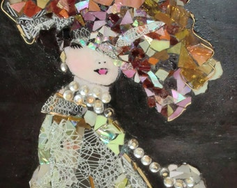Hand crafted mosaic victorian lady
