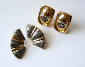 Gold Silver Earring 2 Pairs Sparkly Fan Rectangle Clip On Post Mixed Metal Statement Earrings Jewelry