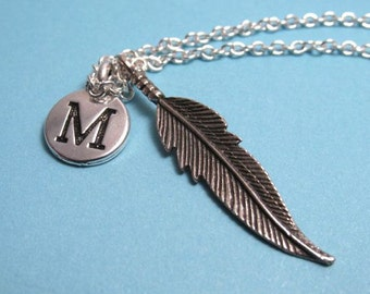 Feather Necklace, Feather Charm, Feather Keychain, Charm, Silver Plated Charm, Engraved, Personalized, Monogram