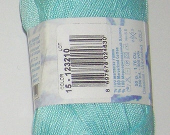 Alize Miss crochet thread size 10, 100% mercerized cotton, #15 Aqua blue