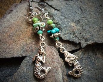 Silver Mermaid and Turquoise Nugget Earrings