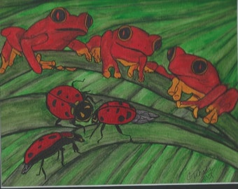 3 Frogs and 3 Ladybugs - Waiting