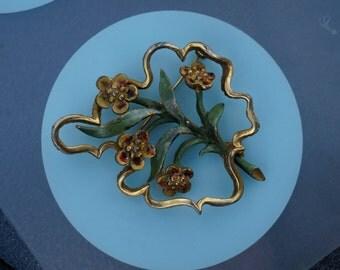 Vintage 1960's Signed Hattie Carnegie Enamel & Goldtone Floral Brooch